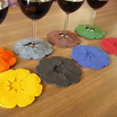 Coasters that attach to your wine glass... Cute idea!
