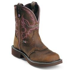 Justin boots with purple