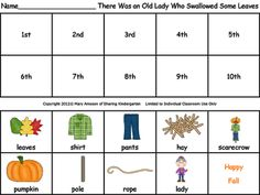 Freebielicious: Fall Sequencing Sheet