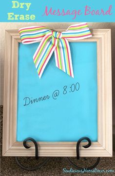 Dry Erase Message Board from A Picture Frame | http://sewlicioushomedecor.com