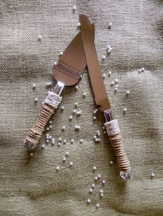 Jute Wrapped Cake Cutting Set Cake Server with Lace Trim - Rustic Wedding - Ribbon, crystal handles. $26.95, via Etsy.