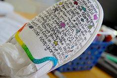 creative shoes, lyrics, handmade shoes, teen crafts, crafts diy