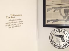 "2nd Amendment decal in gold applied to a wall in this customer's ""Man Cave."" #guns #Glock"