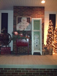 window, countri christma, christma decor, christma tree, christma porch, country christmas, paint, christmas trees, christmas porch