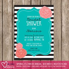 Floral Bridal Shower Invitations #tiffanyblue