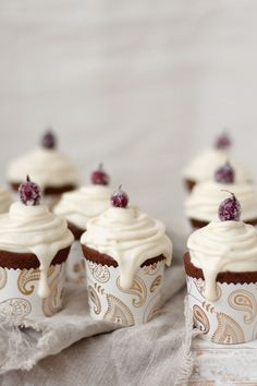 Buttercream frosted cranberry cupcakes