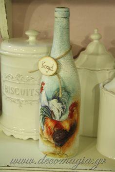 fles met crackelee en daar een servet op plakken (bv kip-haan-boeket-bloemen)