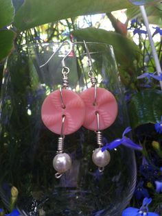 Vintage Button Earrings in Pink with Vintage by LilyHillVintage, $9.00