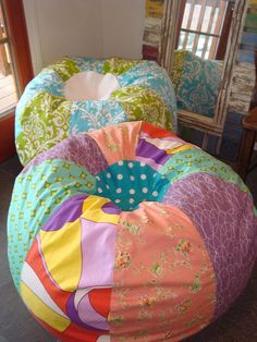 Shabby Chic Cottage style Pastel Multi Print Bean Bag by Paniolo, $135.00