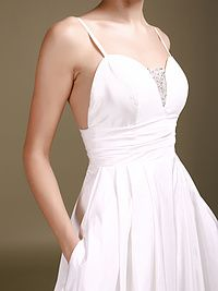 Simple Style Taffeta Sweetheart Neckline with Beading Lace Empire www.forherandforhim,Waistband Backless A-line Style Chapel Train Wedding Dresses with Pockets 2012,#dresses