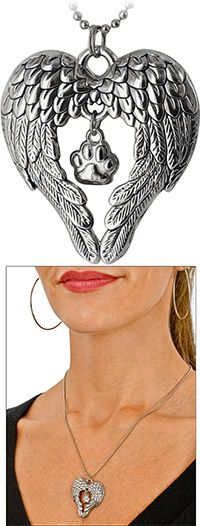 Wings of an Angel Paw Print Necklace at The Animal Rescue Site