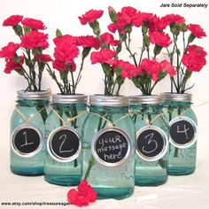 Chalkboard Wedding Table Numbers on Mason Jars
