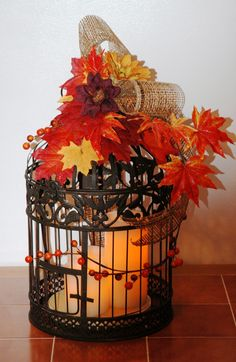 fall wedding centerpieces with bird cage | Share