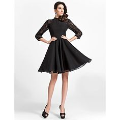 A-line High-neck Knee-length Satin And Lace Cocktail Dress – USD $ 149.99