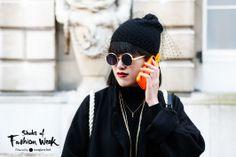 Work the quirk with circular frames and fun accessories. Seen during London Fashion Week. #ShadesofFashionWeek #Sunglasses