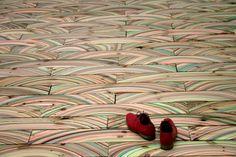 marbled wood floor