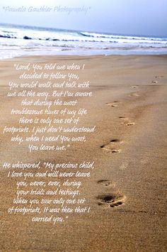 Footprints in the Sand with Quote by PamelaGauthierPhotos on Etsy, $25.00 need to put my beach family footprint pic w this
