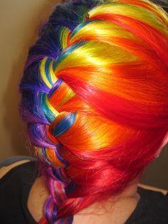 Rainbow hair French braid