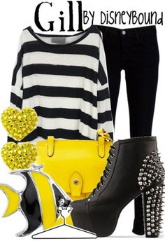 Disney Bound outfit inspired by Gill from Finding Nemo. I wish I had a reason to own those shoes.