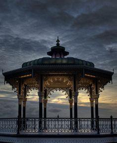 Gazebo at dusk, Brighton, England