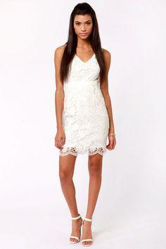Pretty White Dress - Lace Dress - Sheath Dress - $82.00