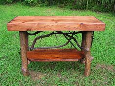 Rustic Handmade red stained pine sofa console Table with shelf Log Cabin Furniture by J. Wade Free Shipping. $295.00, via Etsy.