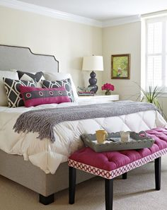 Pantone's 2014 colour is Radiant Orchid | An example of how to use it in a bedroom. Even in small doses, it absolutely bounces off the grey and white. Love, Love, Love!!