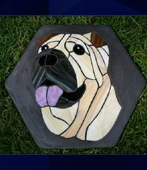 Sharpei stained glass stepping stone