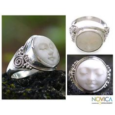 @Overstock - Cow bone 'Face of the Moon' ring  Sterling silver jewelry  Click here for ring sizing guidehttp://www.overstock.com/Worldstock-Fair-Trade/Cow-Bone-Face-of-the-Moon-Ring-Indonesia/3808310/product.html?CID=214117 $40.49
