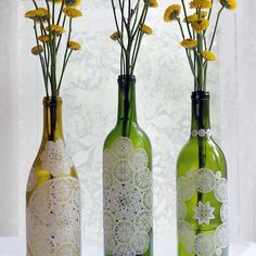 Paper Doily Decoupaged Bottles