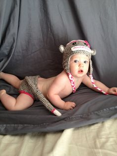 Ravelry: Monkey Hat and Diaper Cover pattern by Bizee B Boutique