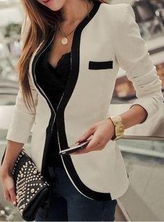 Black and white collarless blazer fashion style.