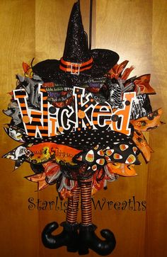 Wicked Witch 3 with Hat and Legs Mesh Wreath by StarlightWreaths, $50.00