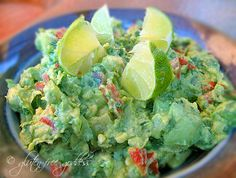 Game worthy guacamole with limes and tomatillos. #glutenfree #vegan #partyfood