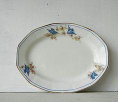 Vintage Platter with Bluebirds