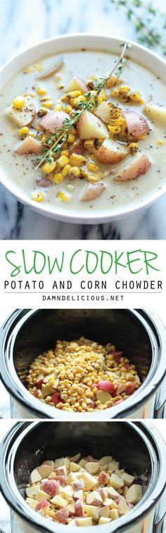 Slow Cooker Potato and Corn Chowder - The easiest chowder you will ever make. Throw everything in the crockpot and you're set! Easy peasy!