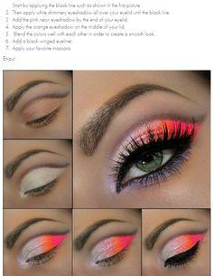 Neon eyes - #neonmakeup #neoneyes #eyemakeup #makeup #brightmakeup #eyeshadow #brightpink #brightorange #neonpink #neonorange - bellashoot.com