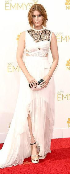 House of Cards' Kate Mara looked sleek in an edgy white gown with woven fabric and lace on the bodice at the 2014 Emmys.