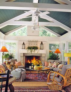 porch design ideas, sunrooms and porches, vaulted ceiling, porch ceilings, accent colors, painted ceilings, sunroom decor, sunroom ceiling, porches and sunrooms