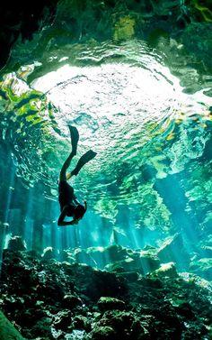 Diving in Ik Kil Cenote in Yucatan Cenotes, Mexico
