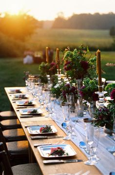 Dinner party as the sun sets