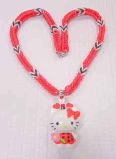 Hello Kitty Necklace with Rainblow Loom Chain, Red and White with Beaded Hello Kitty Charm