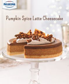 Pumpkin Spice Latte Cheesecake with Pumpkin Seed Brittle made with a buttery crust and full of the coffee flavour you love in the seasonal coffee drink. This dessert also makes a great centerpiece on any dessert table!