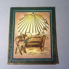 C943 Vintage Xmas Greeting Card Gold Embossed Image of Baby Jesus Deer | eBay