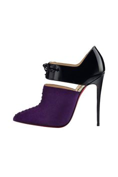 Christian Louboutin Purple & Black Stiletto Ankle Boots Fall 2014 #CL #Louboutins #Shoes #Booties