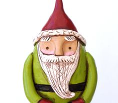 Santa with Bright Green Coat and Plaid by cortneyrectorFOLKART
