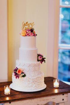 wedding cake with hearts! photo by Jess Jackson http://ruffledblog.com/intimate-queensland-wedding #weddingcake #cakes