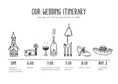 Hand-drawn wedding itinerary by thesmallobject. So cute!
