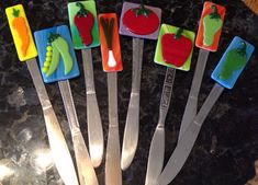 Fused Glass Garden Markers