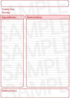 blank recipe card template .